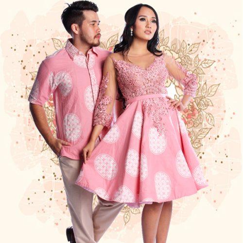 05 Batik Couple Premium Dress Pesta Bola-Bola Pink (1)